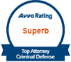 Avvo Rating Superb Top Attorney Criminal Defense badge